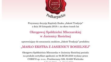 Masło Ekstra - Certyfikat Jakość Tradycja
